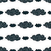 Cute seamless pattern with black clouds and hand drawn textures on a white background. Illustration in Scandinavian style for Wallpaper, fabric, textile, packaging paper design. Vector