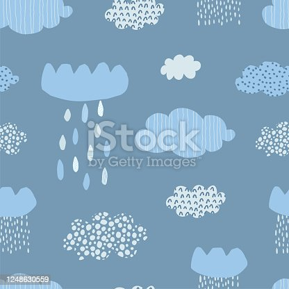 Cute seamless pattern with blue clouds, raindrops and hand drawn textures on a white background. Illustration in Scandinavian style for Wallpaper, fabric, textile, packaging paper design. Vector