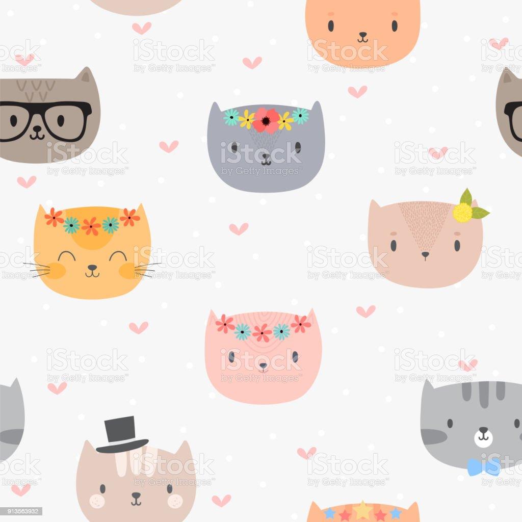 Ilustración de Lindo De Patrones Sin Fisuras Con Los Gatos De ...