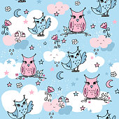 Part of pastel set with cute owls.