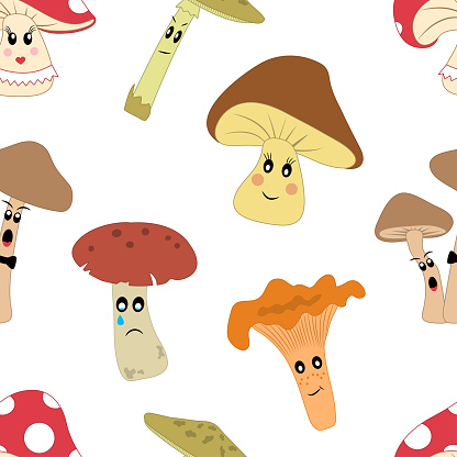 Cute seamless pattern with cartoon mushrooms with different emotions on white background. Vector