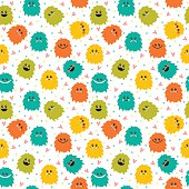 Cute seamless pattern with cartoon smiley monsters