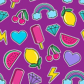 Fashion patches and stickers. Vector illustration.