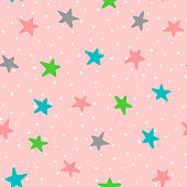 Cute seamless pattern with colorful stars and polka dots. Drawn by hand. Endless vector illustration for children. Pink, white, green, blue, dark gray.