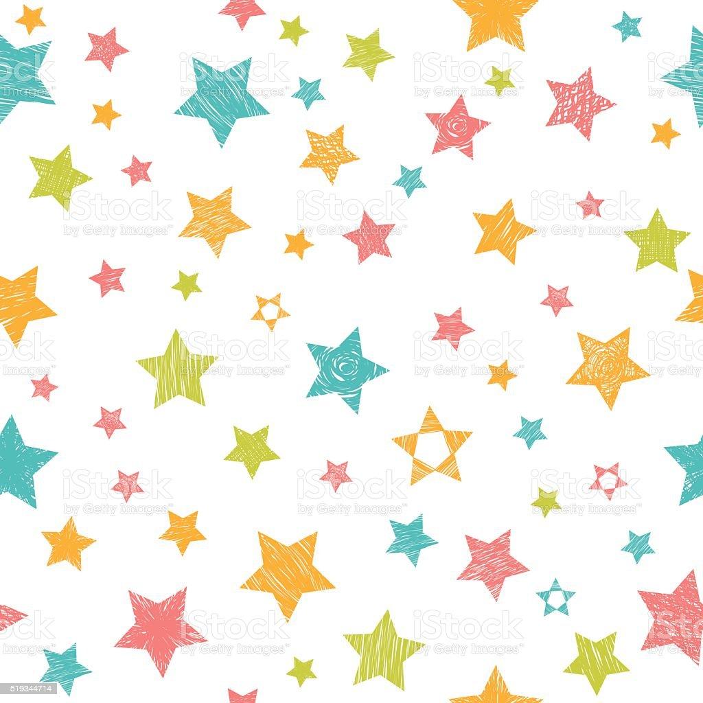 かわいいカラフルなシームレスパターンの星。スタイリッシュなプリント ベクターアートイラスト