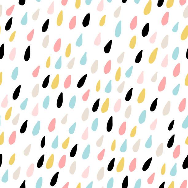 stockillustraties, clipart, cartoons en iconen met schattig naadloze patroon met kleurrijke waterdruppels. kinderachtig bitmappatroon voor stof, textiel. vectorillustratie - background baby