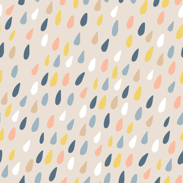 cute seamless pattern with colorful water drops. childish texture for fabric, textile.vector illustration - rain stock illustrations, clip art, cartoons, & icons