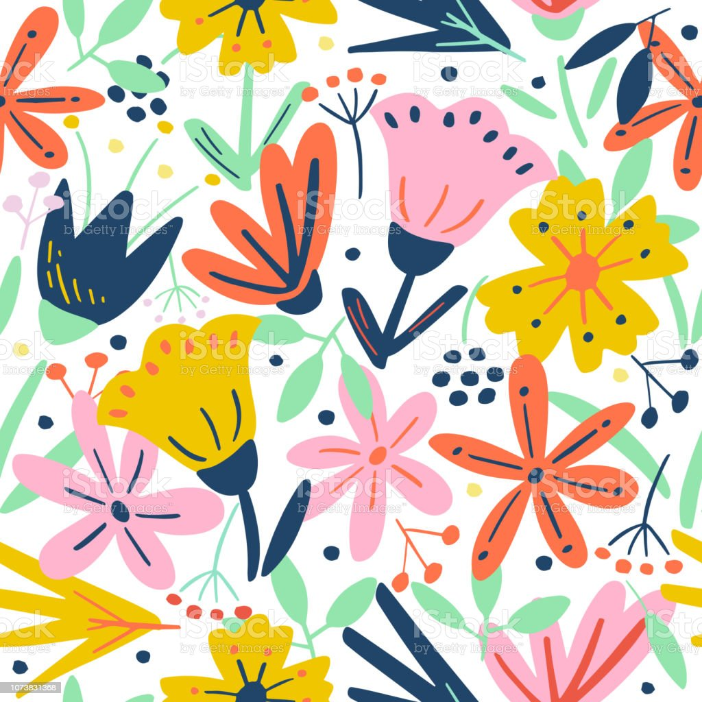 7c255cec3e113 Cute Seamless Pattern With Creative Flowers And Decorative Elements ...