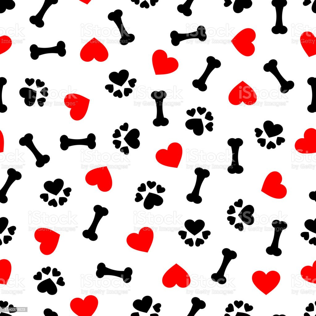 ea333416e79e cute seamless pattern with dog bone, paw print and red heart, transparent  background royalty