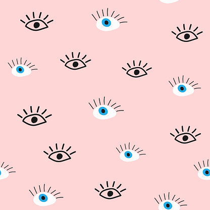 Cute seamless pattern with eyes drawn by hand. Doodle, sketch. Girly vector illustration.