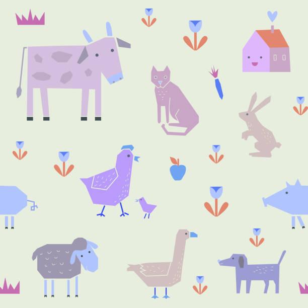 hübsch nahtlose muster mit farm tiere in vektor - - karotte peace stock-grafiken, -clipart, -cartoons und -symbole