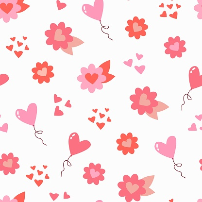 Cute seamless pattern with flowers and balloons. Flat style. Stock illustration. White background, isolate.