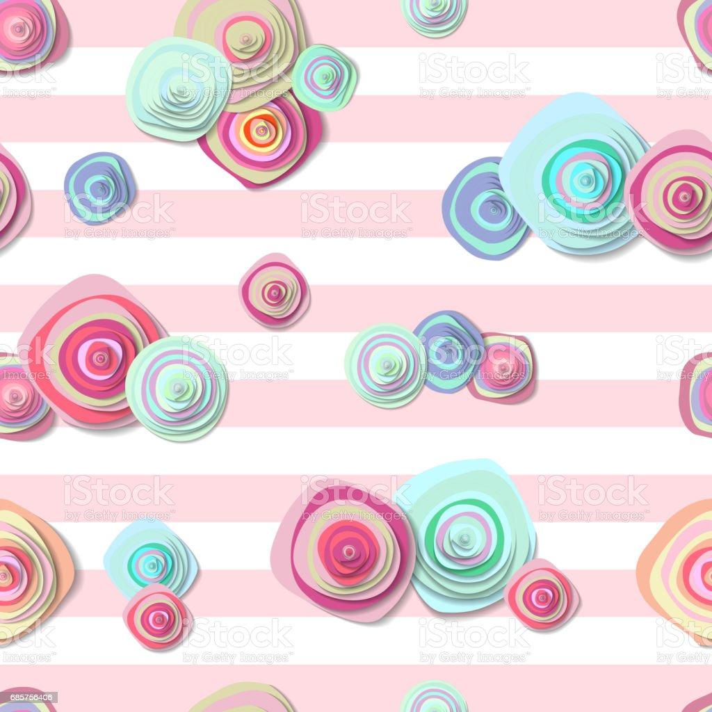 cute seamless pattern with flowers and stripes royalty free cute seamless pattern with flowers and stripes stockvectorkunst en meer beelden van ananas