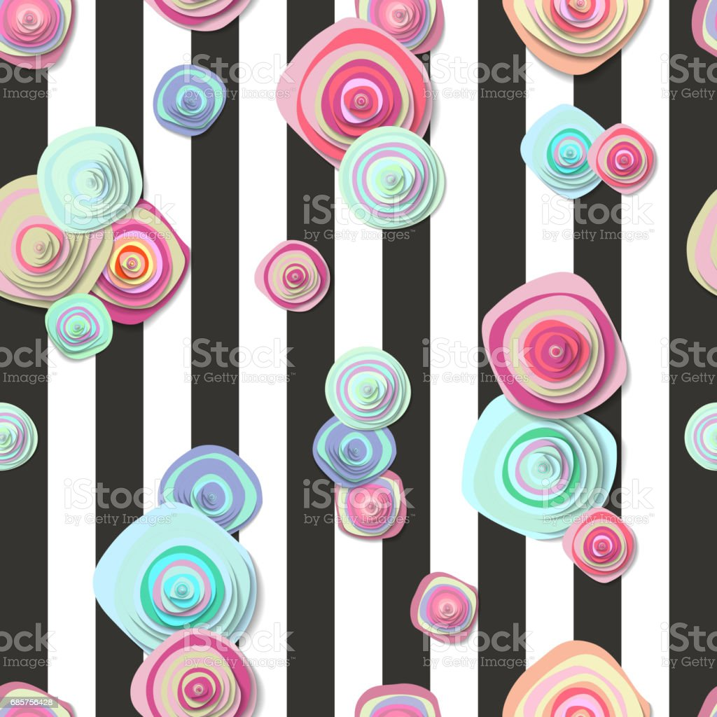 cute seamless pattern with flowers and stripes royalty-free cute seamless pattern with flowers and stripes stock vector art & more images of arts culture and entertainment