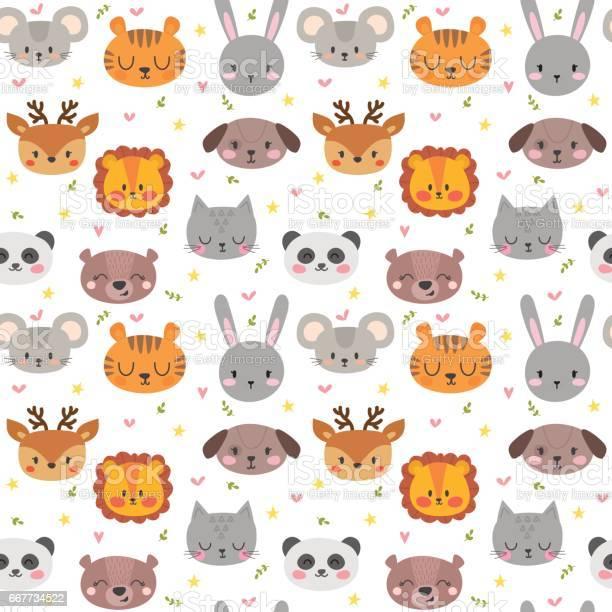 Cute seamless pattern with funny animals smile characters vector id667734522?b=1&k=6&m=667734522&s=612x612&h=vpldh6m9gr1g22r5p4xx9vkxix1fs7ogutvu6qfgrw4=