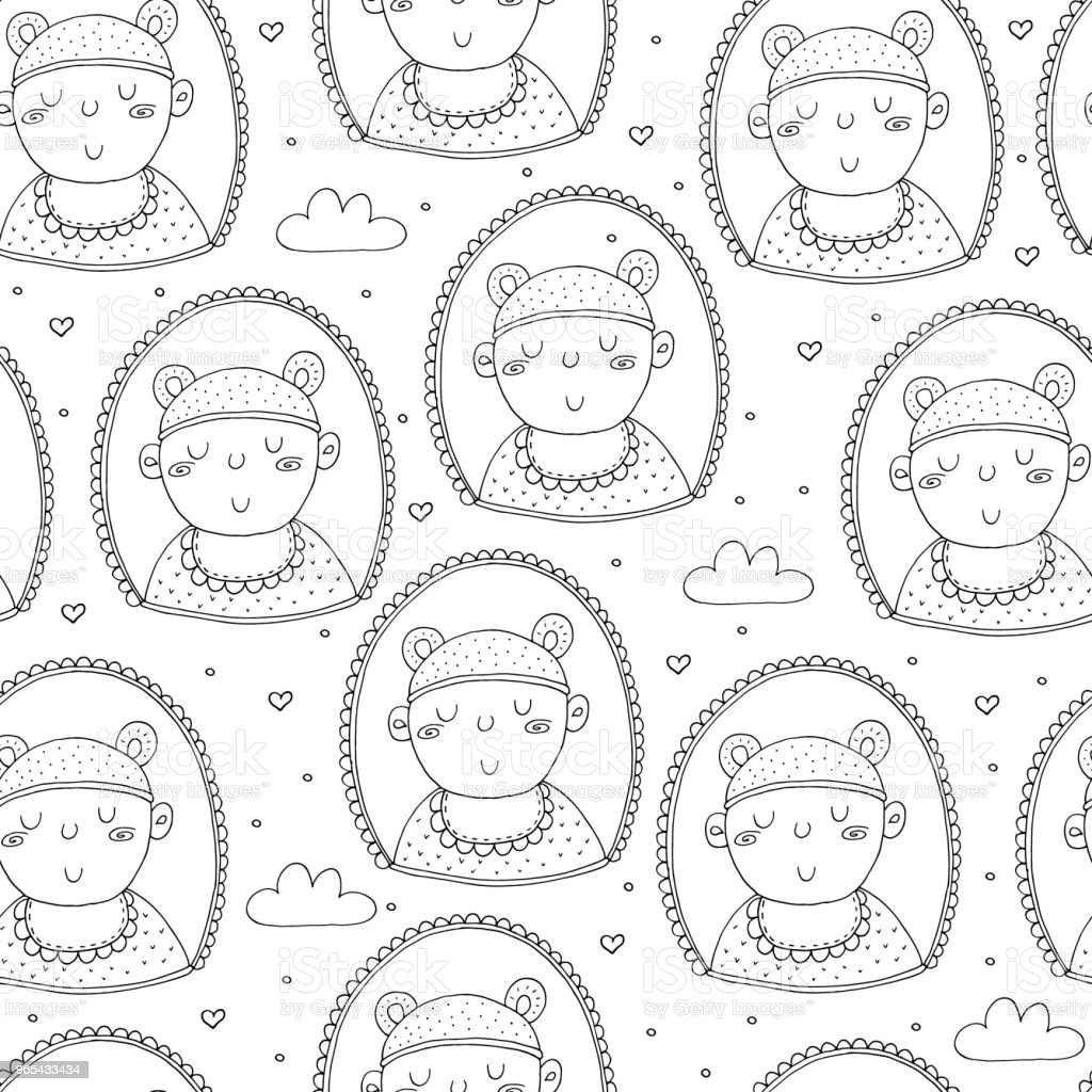Cute seamless pattern with funny baby. vector illustration. royalty-free cute seamless pattern with funny baby vector illustration stock vector art & more images of backdrop - artificial scene