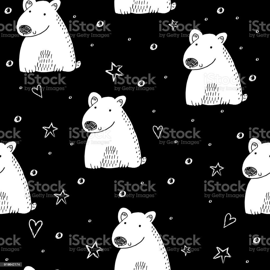 Cute seamless pattern with funny bear. vector illustration vector art illustration