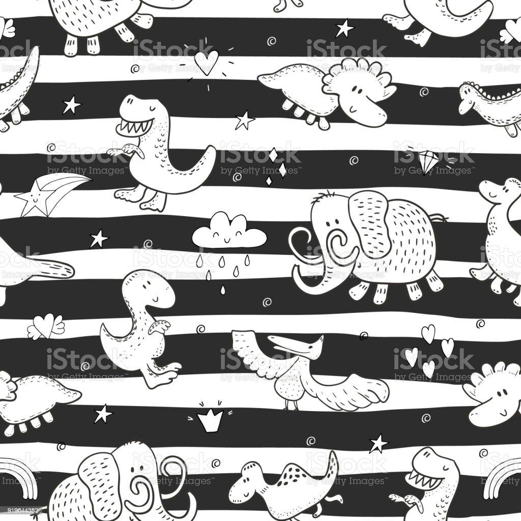 Cute seamless pattern with funny dinosaurs. vector illustration. vector art illustration