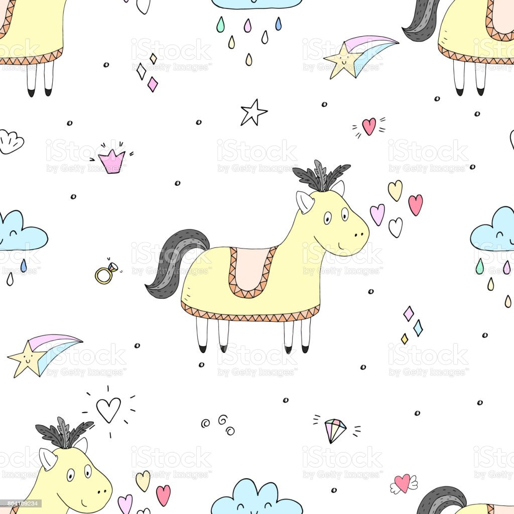 Cute seamless pattern with funny pony. vector illustration royalty-free cute seamless pattern with funny pony vector illustration stock vector art & more images of animal