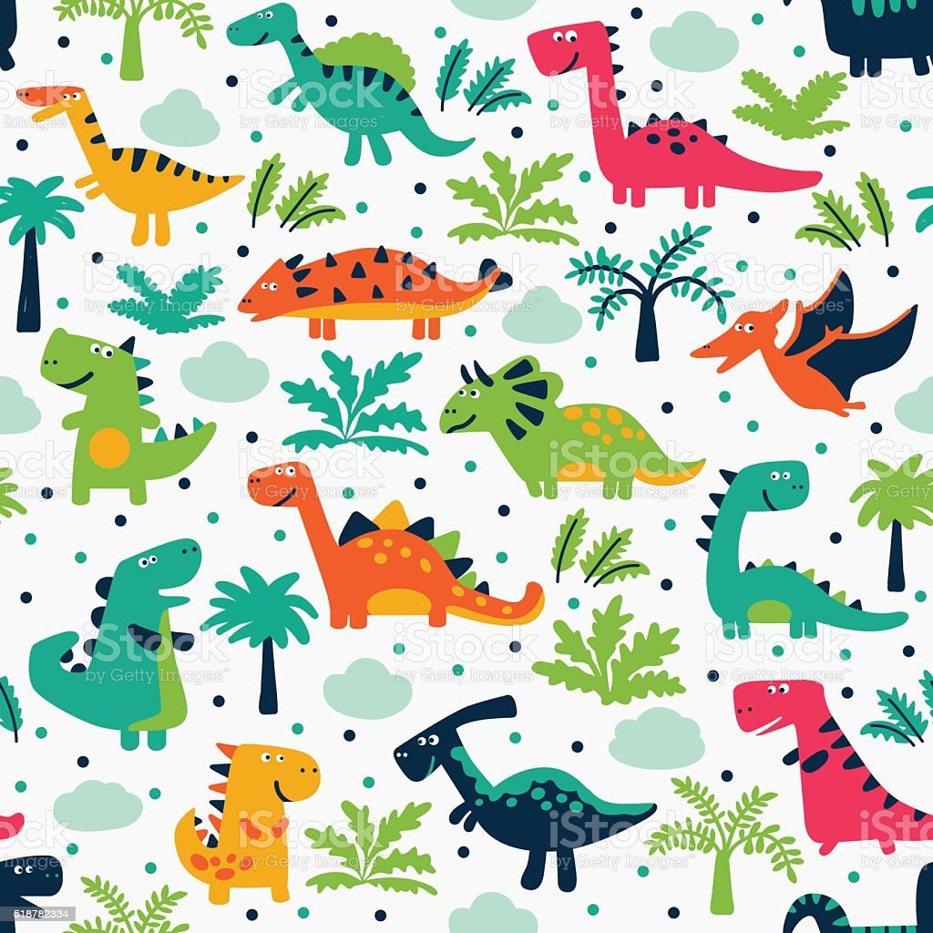 Cute seamless pattern with funny smiling dinosaurs, clouds and trees vector art illustration
