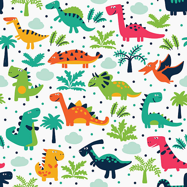 cute seamless pattern with funny smiling dinosaurs, clouds and trees - dinosaur stock illustrations, clip art, cartoons, & icons