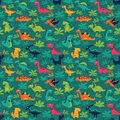 Cute seamless pattern with funny smiling dinosaurs, clouds and trees