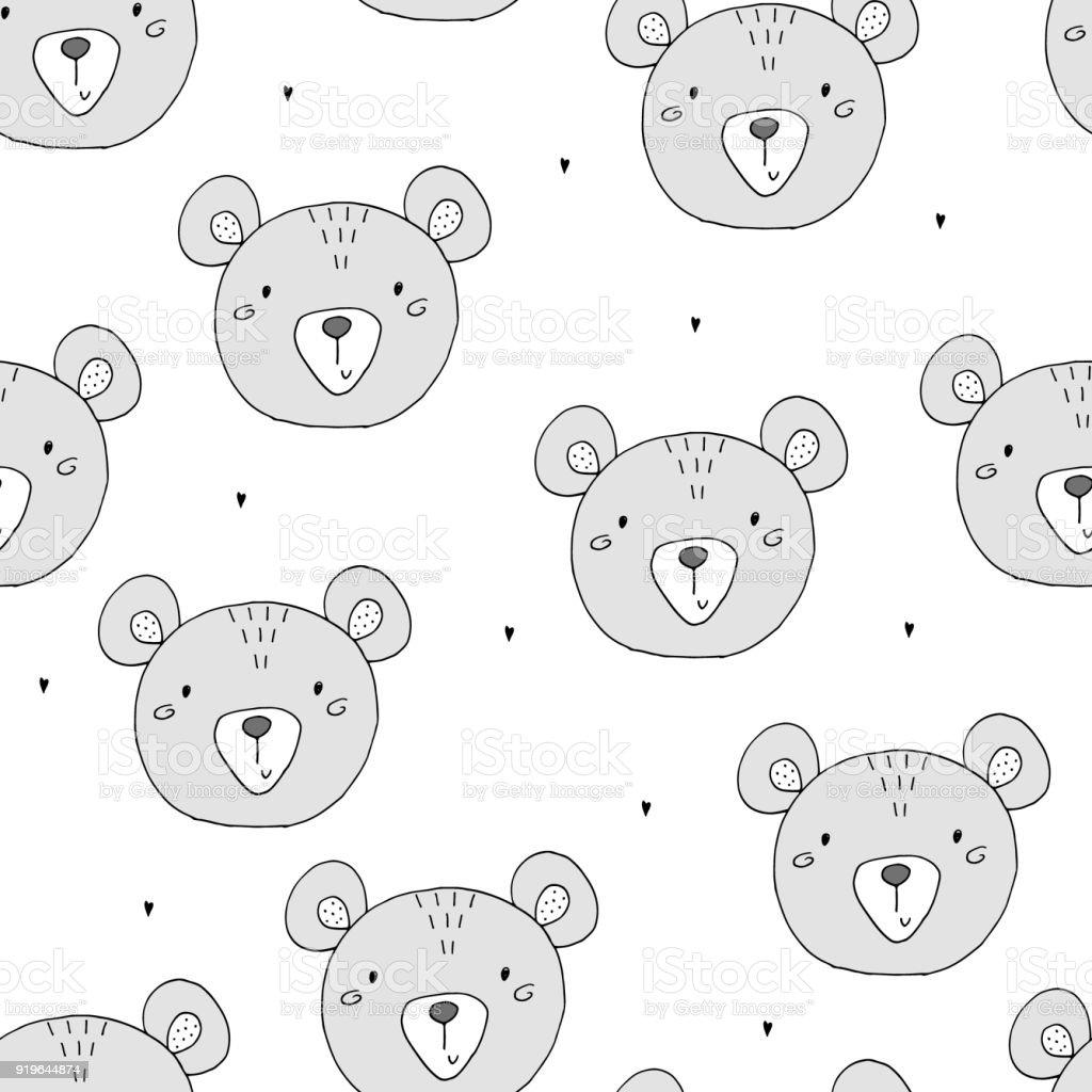 Mignon modèle sans couture avec ours en peluche drôle. illustration vectorielle - Illustration vectorielle