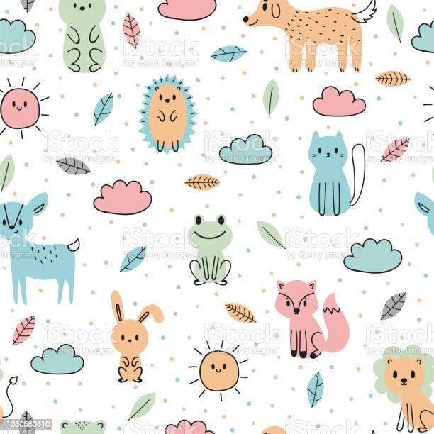Cute seamless pattern with hand drawn animals trendy cartoon vector id1030580410?b=1&k=6&m=1030580410&s=612x612&h=bzembnaobcn6b6wot3i36xck2fshinfnf3dbprgl85o=