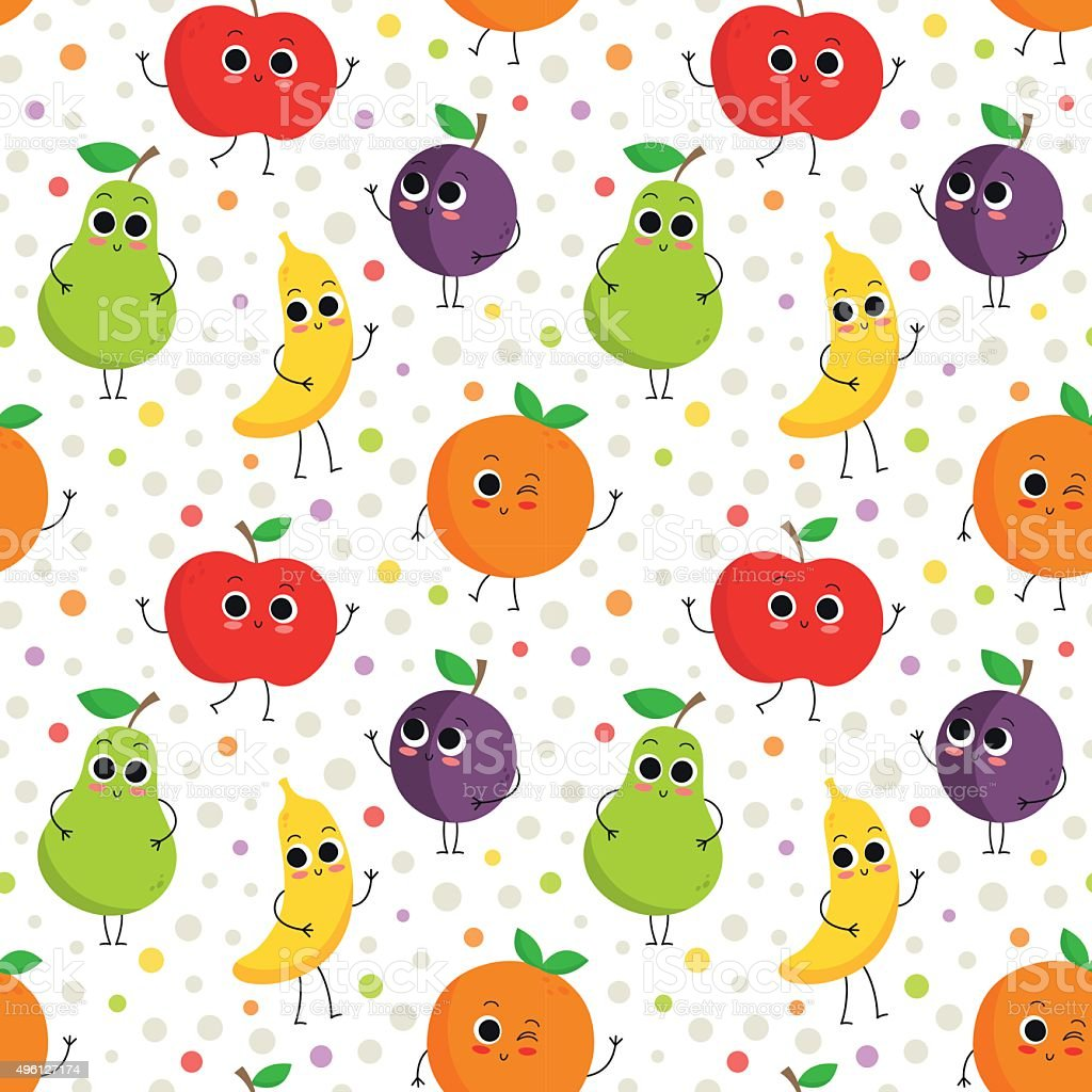 Cute seamless pattern with happy fruits vector art illustration