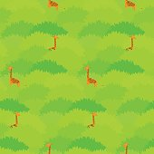 Cute seamless pattern with high giraffes hiding in the green tropical forest
