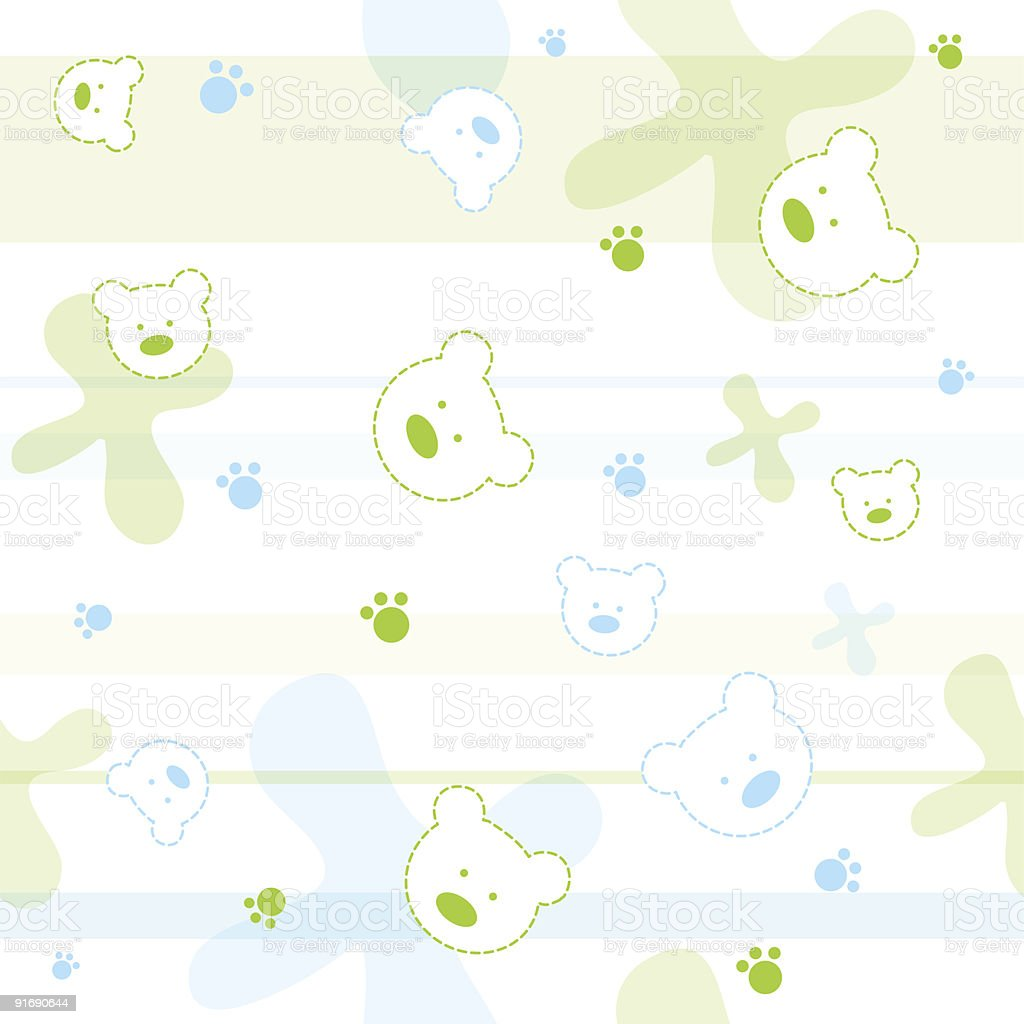 Cute seamless pattern with little bears royalty-free stock vector art