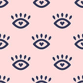 istock Cute seamless pattern with loving eyes. Girly vector illustration. 1224385465