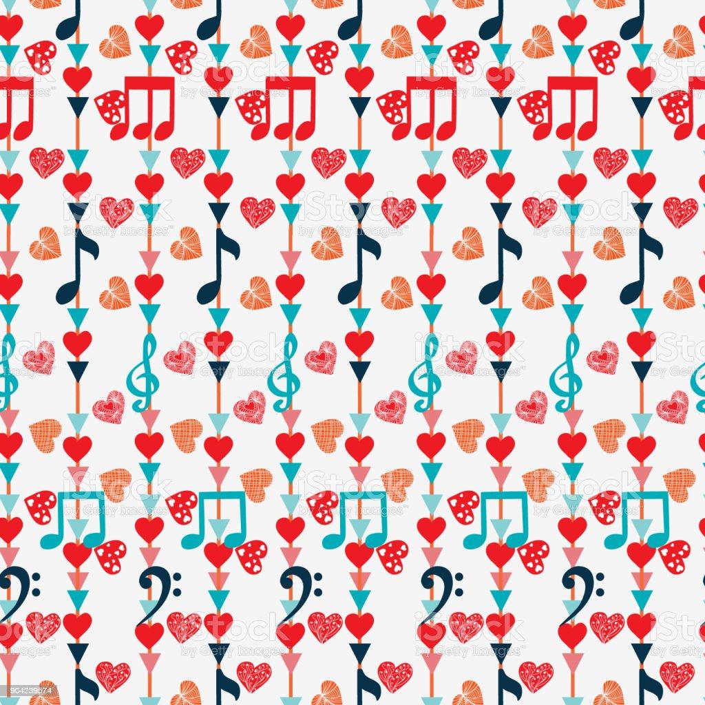 音符とハートのかわいいシームレス パターン お祝いのベクターアート