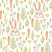 A cute seamless pattern with rabbits, carrots and flowers. Easter spring pattern with hares and grass. Imitation of handmade watercolors. Cartoon flat vector illustration. Isolated on a white background.