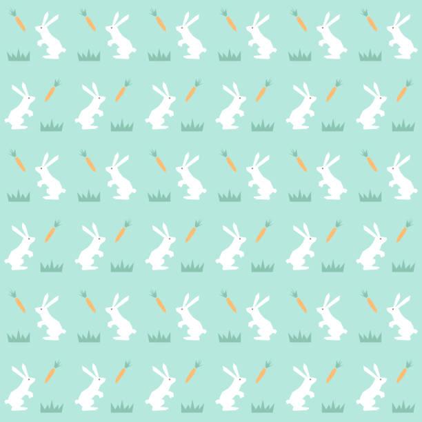 hübsch nahtlose muster mit hasen in vektor - karotte peace stock-grafiken, -clipart, -cartoons und -symbole