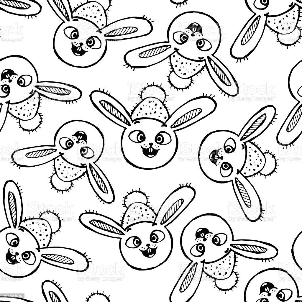 Sem costura padrão bonito com rabbits ilustração de sem costura padrão bonito com rabbits e mais banco de imagens de animal royalty-free