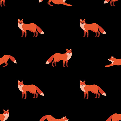 Cute seamless pattern with red foxes on black background. Scandinavian style.