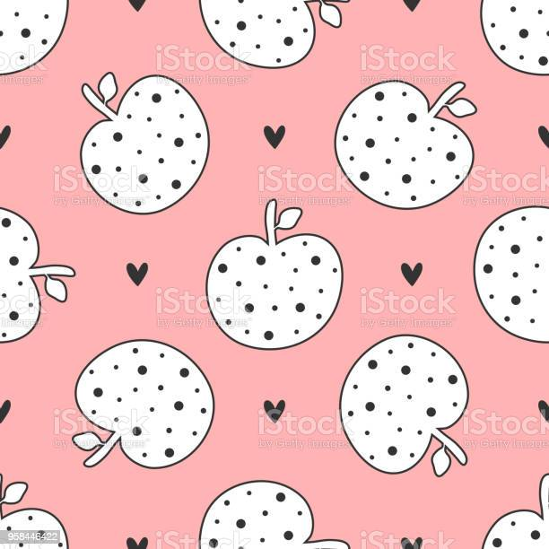 Cute seamless pattern with repeating apples and hearts drawn by hand vector id958446422?b=1&k=6&m=958446422&s=612x612&h=vsomhus2psmss32i9narwznsf7vznykeepmfayi3ziy=