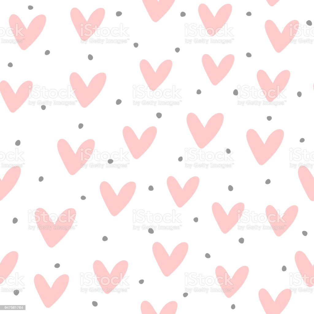 Cute seamless pattern with repeating hearts and round dots drawn by hand. Endless girlish print. - arte vettoriale royalty-free di 1990-1999