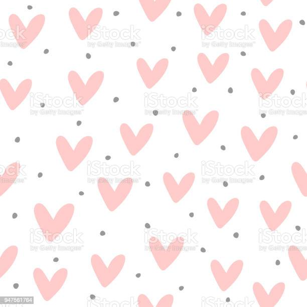 Cute Seamless Pattern With Repeating Hearts And Round Dots Drawn By Hand Endless Girlish Print - Immagini vettoriali stock e altre immagini di 1990-1999