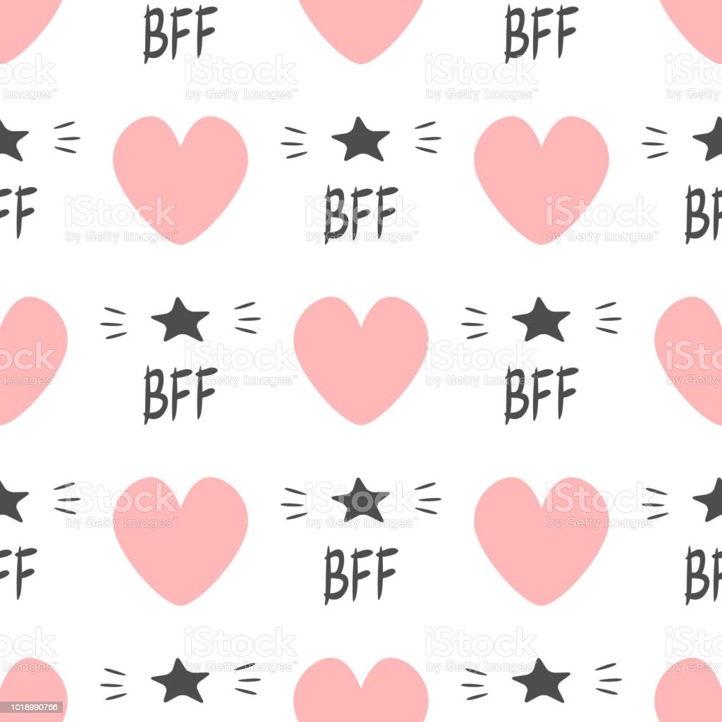 Cute seamless pattern with repeating hearts and text BFF and stars. Endless print for girls. vector art illustration