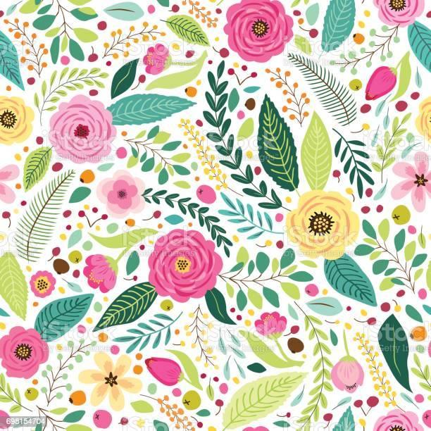 Cute seamless pattern with rustic hand drawn first spring flowers vector id698154704?b=1&k=6&m=698154704&s=612x612&h=yfpbscjxqichmzya1nzemcgqikbbyxziy9ax5zva7ei=