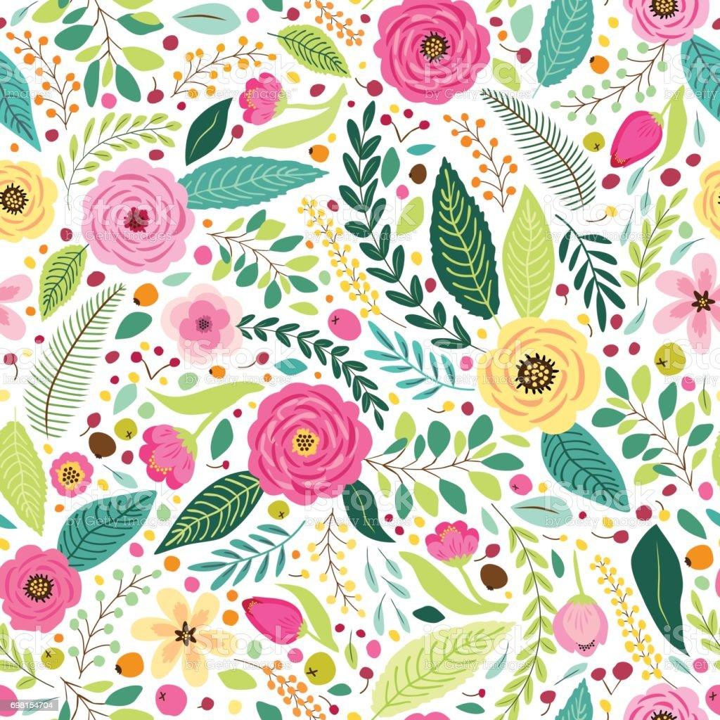 素朴な手でかわいいシームレス パターン描画最初の春の花 ベクターアートイラスト