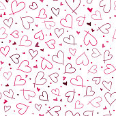 Cute seamless pattern with small hearts and dots. Abstract romantic vector design for love holiday Valentine's day, mother's day, wedding invitation, wallpaper, wrapping paper, scrapbooking.