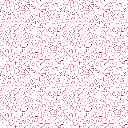 Cute seamless pattern with small pink hearts. Abstract romantic vector design for love holiday Valentine's day, mother's day, wedding invitation, wallpaper, wrapping paper, baby shower.