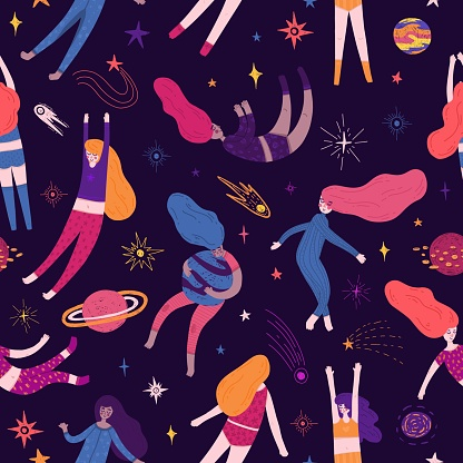 Cute Seamless Pattern With Space Elements And Pretty Women Cartoon Style Wallpaper With Sleeping Fly Girl Comets Planets And Cosmic Stars Childrens Background With Handdrawn Galaxy Vector Stock Illustration - Download Image Now
