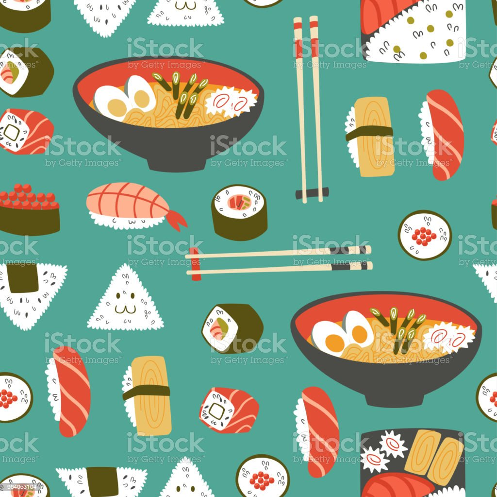 Cute Seamless Pattern with Sushi, Onigiri and Noodle. - Royalty-free Asia stock vector