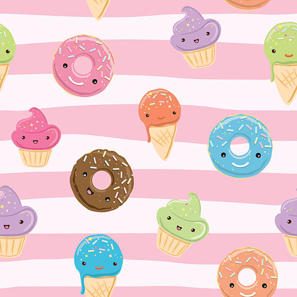 Cute seamless pattern with sweets vector art illustration