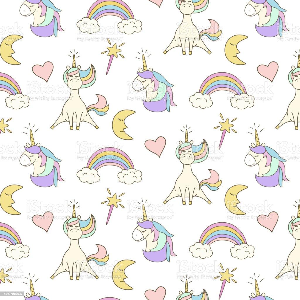 Ilustración de Lindo De Patrones Sin Fisuras Con Unicornios y más ...