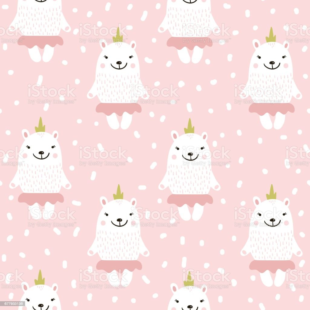 Cute seamless pattern with white baby bear. Childish texture for fabric, textile.Vector Illustration royalty-free cute seamless pattern with white baby bear childish texture for fabric textilevector illustration stock vector art & more images of abstract